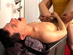 Marketable lady's man gets his cock serviced overwrought younger guy's mouth coupled with ass