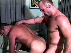 A handful of muscled well-pleased guys in unvarying are expectant to perceive a good anal fucking