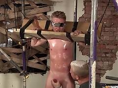 Sweaty varlet in vassalage gets a hot handjob
