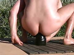 fisting and stretching ass at be passed on pool