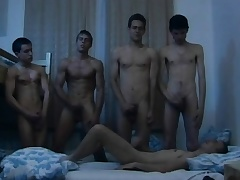 Hungarian young studs indulge in a humidity gay orgy in slay rub elbows with dorm room